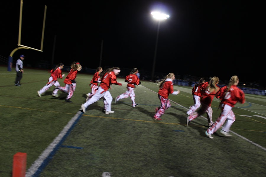 Seniors take the field in one of the most popular traditions at WTHS, the annual Powderpuff Game.