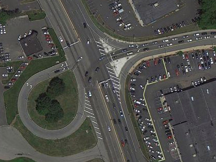 A jughandle on Route 23 in Wayne, N.J. (credit: Google Maps)