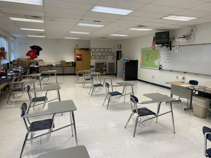 In English and Journalism teacher Mrs. Pierson's classroom, socially-distanced desks take the place of flexible seating and tables.