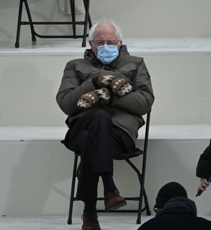 Bernie Sanders with his mittens and jacket at President Biden