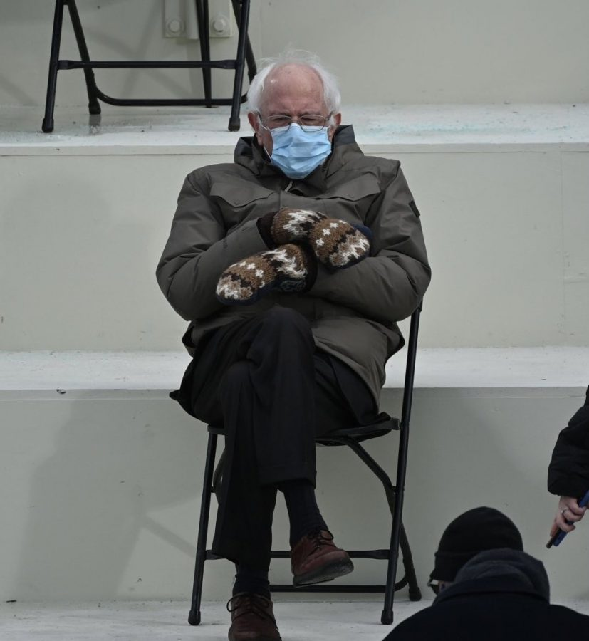 Bernie Sanders with his mittens and jacket at President Biden's inauguration.