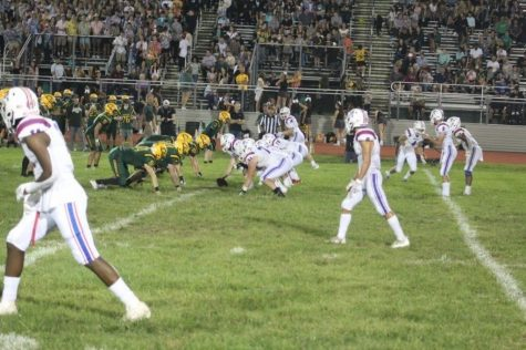 Minutemen offense lines up against Clearview during week 3. The minutemen went on to win  30-7.